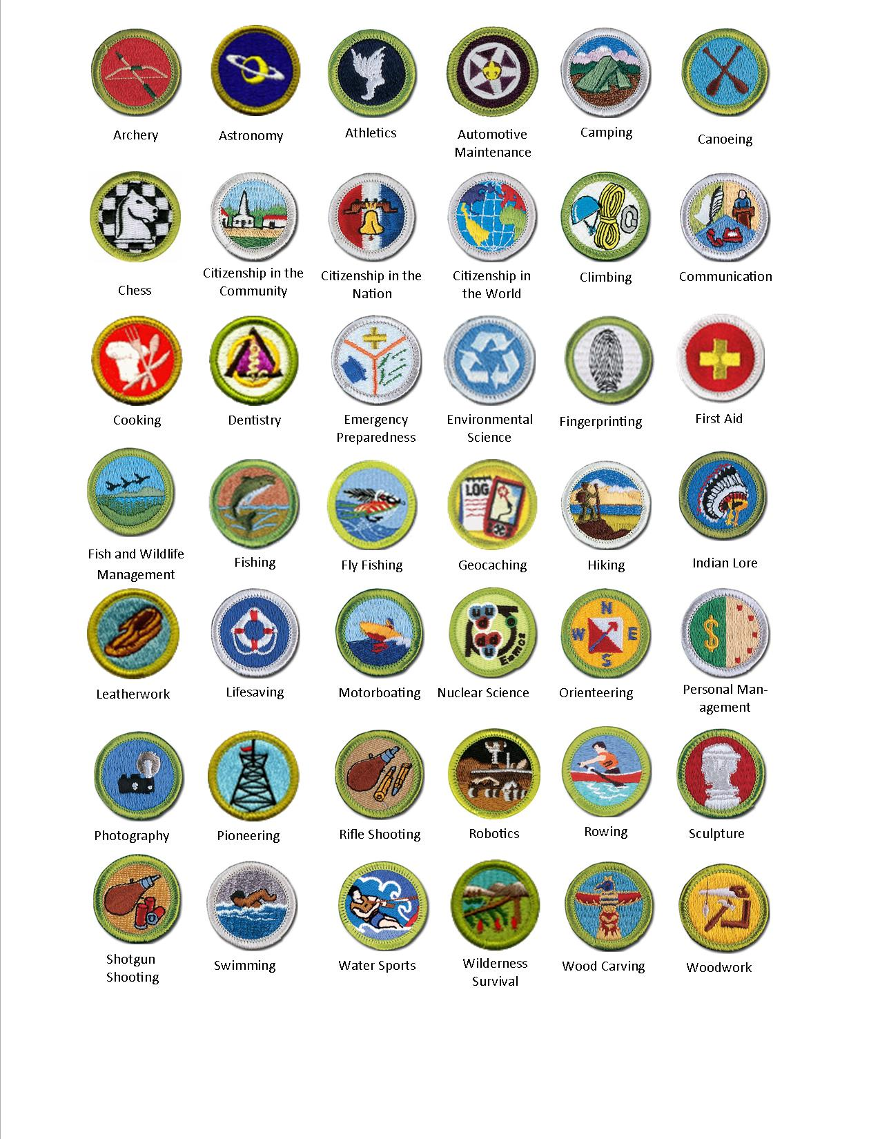 image regarding Printable List of Merit Badges titled Benefit Badges